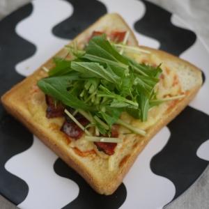 あっさり!水菜のピザトースト