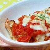 意外に合います(^^)餃子のトマトチーズ焼き