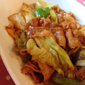 豚バラ薄切り肉&キャベツの味噌炒め♪