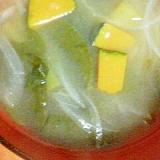 ツルムラサキとタマネギとカボチャのお味噌汁