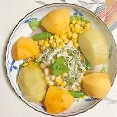 レタス 、スイートコーン、柿、キウイのサラダ