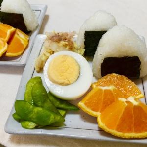 塩にぎりと白菜お浸し茹で玉子で和な朝ごはん♡