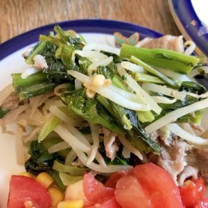 節約もやしレシピ☆豚肉とかきなの生姜炒め煮