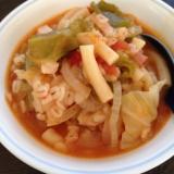 もち麦とマカロニの野菜トマトスープ