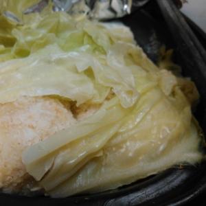 チーズ&レタス入り油揚げとキャベツのスープ煮