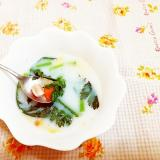 春菊とベーコンの豆乳スープ