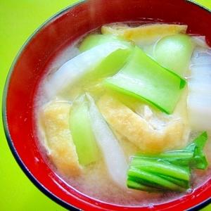 白菜とチンゲン菜油揚げの味噌汁