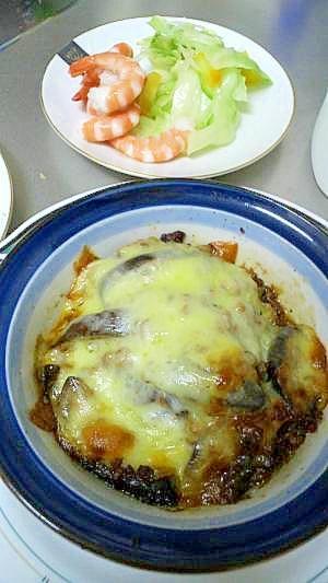 急のおつまみ 豚のひき肉と茄子チーズ焼き
