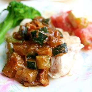 鱈のソテー夏野菜ジェノバソースがけ