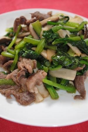 ニラと小松菜の牛肉炒め