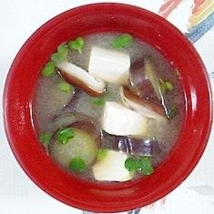 茄子と塩とうふ、椎茸のお味噌汁