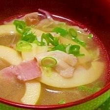 毎日のお味噌汁4杯目*筍と舞茸、ベーコン入り