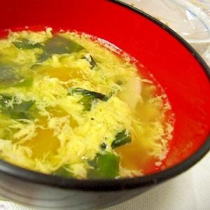 チンゲン菜とわかめの卵スープ