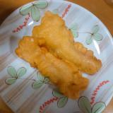 冷凍イカでカレー風味の天ぷら