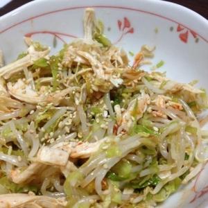 レンジで簡単!節約♪鶏ムネ肉ともやしの韓国風サラダ