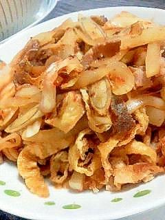 牛肉とごぼうのキムチ炒め。