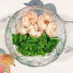 海老と菜の花の酢味噌和え
