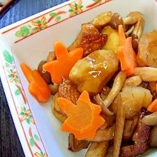 里の秋♪木の実・きのこ・紅葉♪栗の炒め煮