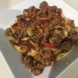 野菜たっぷりさつまいもとアスパラ入りスパゲティ