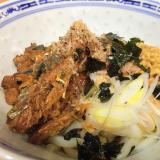 ザ・男料理☆簡単さんま缶と納豆のぶっかけうどん