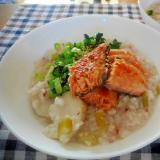 鮭と小松菜と里芋のおかゆ
