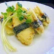 マコモタケの味噌ネギはさみ揚げ