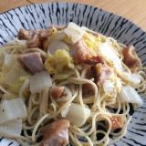 【鍋いらず】唐揚げと白菜のパスタ 白ごま仕立て