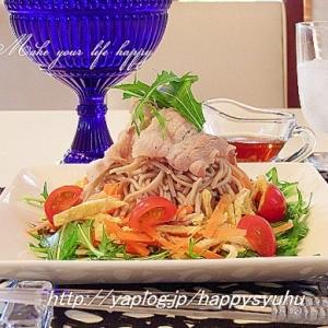豚しゃぶと彩り野菜de和風☆蕎麦サラダ