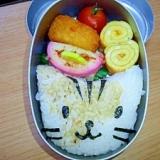 園児のお弁当「我が家の三毛猫べんとう」