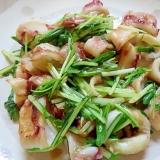 水菜とイカの醤油炒め