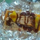 卵黄トースト(いわし+たくあん)