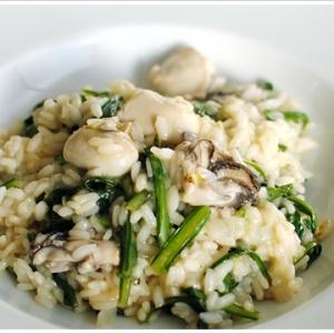 牡蠣と菊菜のリゾット