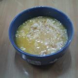 玄米ごはん、白米ごはん、揚げ玉のおかゆ
