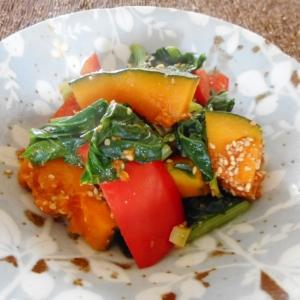 小松菜とかぼちゃとパプリカの醤油麹ごま和え