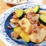 豚ひき肉と長芋とズッキーニの炒め物