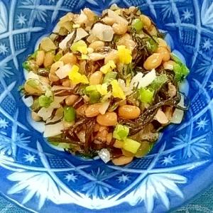 納豆の食べ方-ひじき&大根漬♪