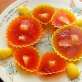 苺ジャムで赤い寒天ゼリー♪(レモン他)