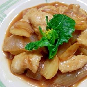 鶏胸肉と玉葱のにんにく甘酢炒め