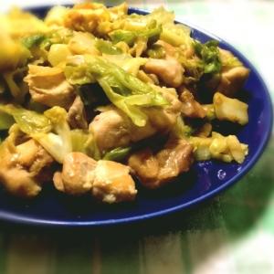 鶏肉とキャベツのオイマヨ炒め