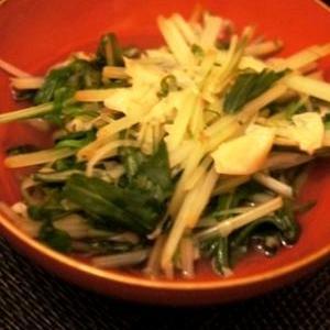 水菜、湯葉、筍姫皮の煮びたし