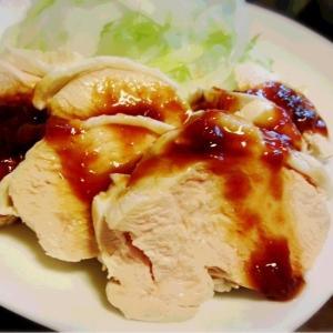 鶏むねでジューシー♪茹で鶏☆ 梅ポン酢でサッパリ!