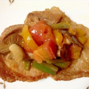 豚ロース肉とカラフル夏野菜ソテー