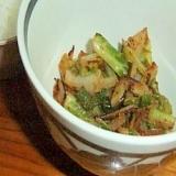 カリフラワーの葉の胡麻醤油炒め