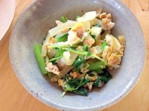 朝食に、小松菜チャンプルー