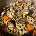鶏とナスと蓮根の甘辛酢炒め