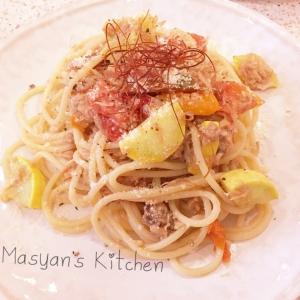 ズッキーニとミニトマトのツナパスタ