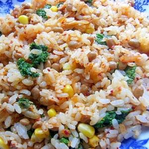 まな板なし5分❤納豆キムチ炒飯♪(塩麹)