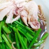 【セリ】セリと鶏の蕎麦