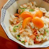 簡単!+キンカン❤残り焼き鮭&明太子の混ぜご飯♪