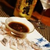 おうち居酒屋、太刀魚の炙り、卵醤油で